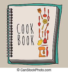 Cook book design over beige background ,vector illustration