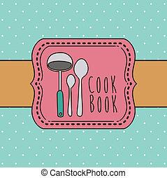 Cook book design over blue background ,vector illustration