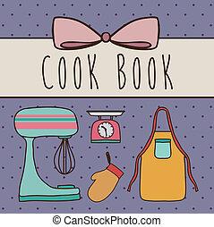 Cook Book Design Over Purple Background Vector Illustration