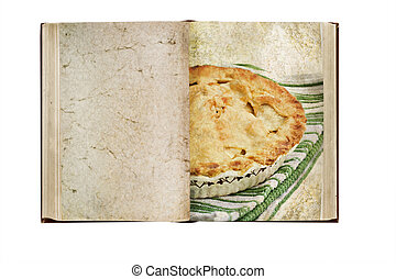 Old book with clipping path. Photo based illustration of an apple pie with a golden buttery crust and room for text on blank page.