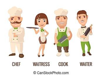 cook., carattere, cameriera, set, icona, chef, cameriere