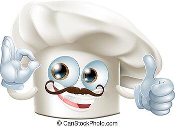 Cook cartoon man - A cooks hat cartoon man doing an okay...