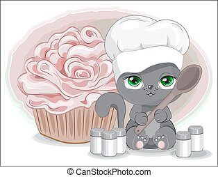 cook cat with spoon and spices and cupcake