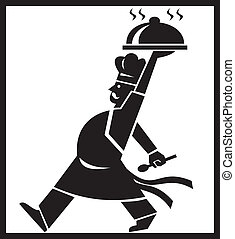 Illustration of a cook chef baker walking serving food platter viewed from the side done in retro style.