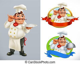 Cook, Chef. Character and label. 3d vector icon set
