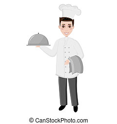 cook chef with dish