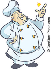 Cook - Chubby chef cartoon in white uniform snapping fingers