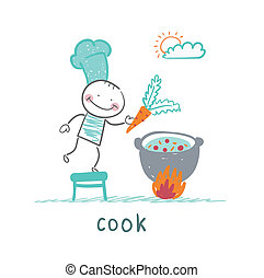 cook cooking in a cauldron