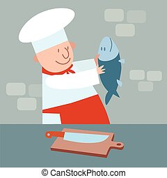 Cook cut up fresh fish. chef in kitchen - Cook cut up fresh...