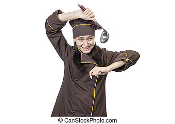 cook dancing with a ladle
