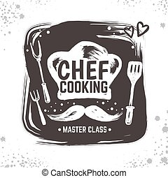 Cook doodle logo. Restaurant sketch poster, food black badge with kitchen tools and elements. Vector typography hand drawn logo