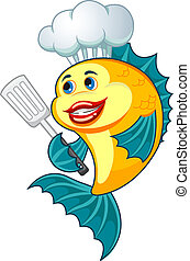 Cook fish - Cartoon cook fish with dishware for cooking...