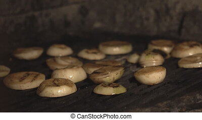 cook fries cut onions on bbq grill or inside oven over coals...