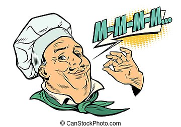 cook gesture of delicious sensations. The profession of chef in the kitchen. Pop art retro vector illustration