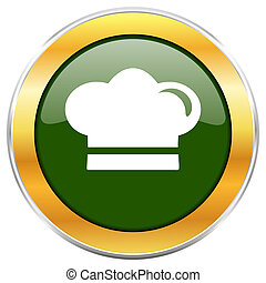 Cook green glossy round icon with golden chrome metallic border isolated on white background for web and mobile apps designers.