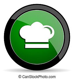 cook green web glossy icon with shadow on white background
