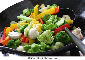 cook, groentes, in, een, chinees, wok