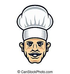 Cook head in hat cartoon style vector illustration
