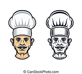 Cook head in two styles vector graphic objects