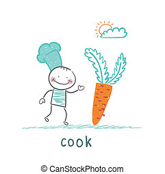cook holding a carrot