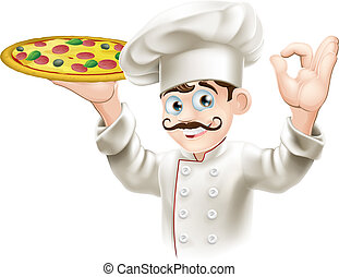 A happy cook from a pizzeria or Italian restaurant holding a pizza