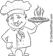 Cook holds a hot pizza, contour - Cartoon cook - chef holds...