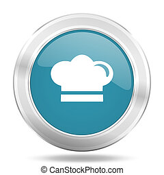 cook icon, blue round glossy metallic button, web and mobile app design illustration