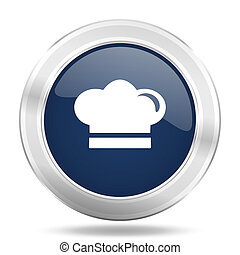 cook icon, dark blue round metallic internet button, web and mobile app illustration