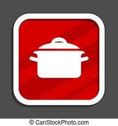 Cook icon. Flat design square internet banner.