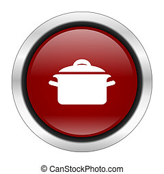 cook icon, red round button isolated on white background, web design illustration