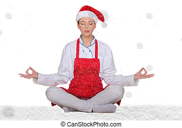 Cook in Santa hat with snow on white background