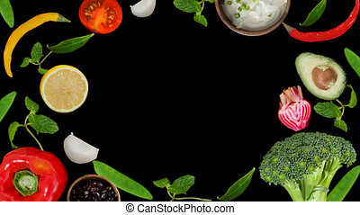 cook ingredient vegetable and fruits in motion against alpha...