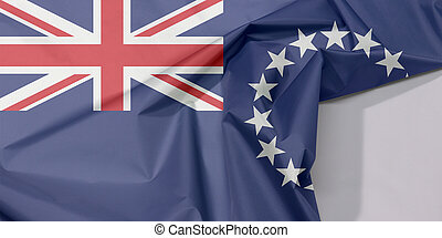 Cook Islands fabric flag crepe and crease with white space, Blue ensign with a ring of star and union jack.