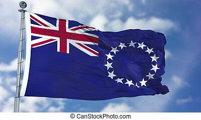 Cook Islands Flag in a Blue Sky