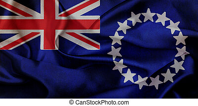 Cook Islands grunge waving flag