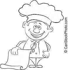cook, jouw, schets, tekst, leeg