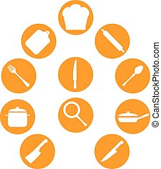 cook kitchen utensil icons set
