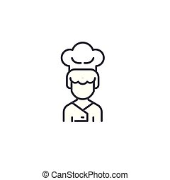 Cook linear icon concept. Cook line vector sign, symbol, illustration.