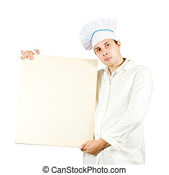 cook man  holding banner