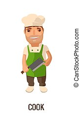 Cook man with knife. Vector flat illustration