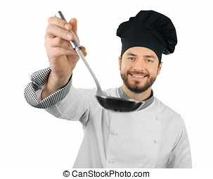 cook man with ladle in hand isolated on white background