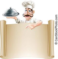 cook, menu, spotprent, boekrol