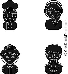 Cook, operator, fireman, artist.Profession set collection icons in cartoon style vector symbol stock illustration web.