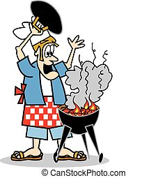Cook or chef cooking on a bbq or barbeque grill
