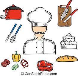 Cook or chef with food and kitchenware