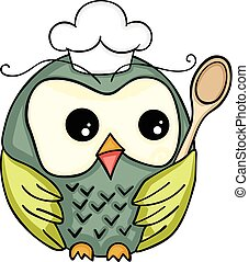 Cook owl with wooden spoon - Scalable vectorial image...