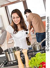 cook, paar, moderne, jonge, keuken