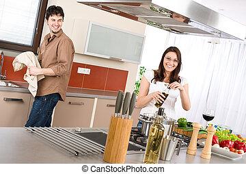 cook, paar, moderne, keuken, vrolijke