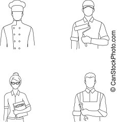 Cook, painter, teacher, locksmith mechanic.Profession set collection icons in outline style vector symbol stock illustration web.