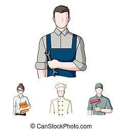 Cook, painter, teacher, locksmith mechanic.Profession set collection icons in cartoon style vector symbol stock illustration web.